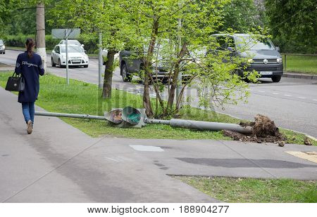 Moscow Russian Federation - May 30 2017: The traffic light fell after a hurricane in Moscow on May 29 2017. The consequences of the hurricane.