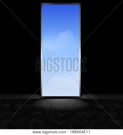 abstract dark empty room with wooden floor and the open door to the blue cloudy sky