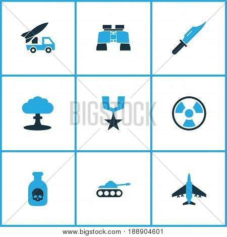 Army Colorful Icons Set. Collection Of Medal, Binoculars, Fighter And Other Elements. Also Includes Symbols Such As Destroyer, Armored, Rewand.