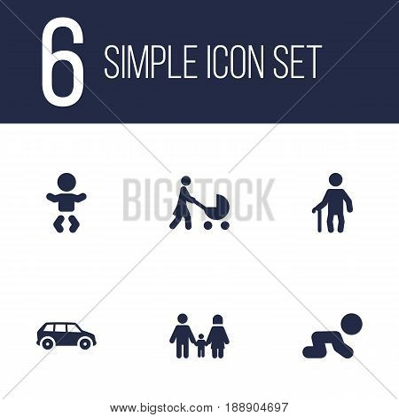 Set Of 6 Family Icons Set.Collection Of Perambulator, Creep Baby, Automobile And Other Elements.