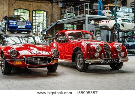 BERLIN - MAY 13 2017: Car workshop for maintenance of classic British car. Center of competence for classic cars and youngtimers - Classic Remise. Exhibition