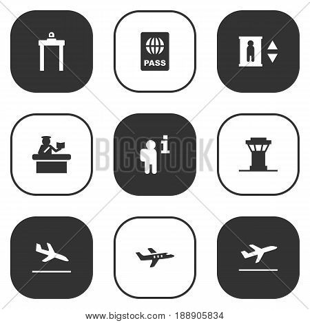 Set Of 9 Aircraft Icons Set.Collection Of Metal Detector, Letdown, Aircraft And Other Elements.