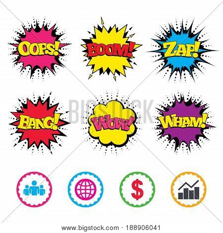 Comic Wow, Oops, Boom and Wham sound effects. Business icons. Graph chart and globe signs. Dollar currency and group of people symbols. Zap speech bubbles in pop art. Vector