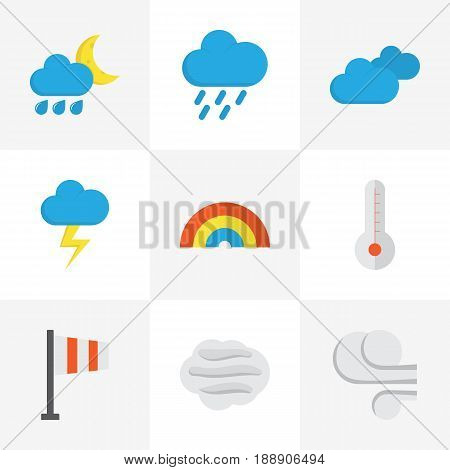 Weather Flat Icons Set. Collection Of Bow, Storm, The Flash And Other Elements. Also Includes Symbols Such As Rain, Flash, Windy.