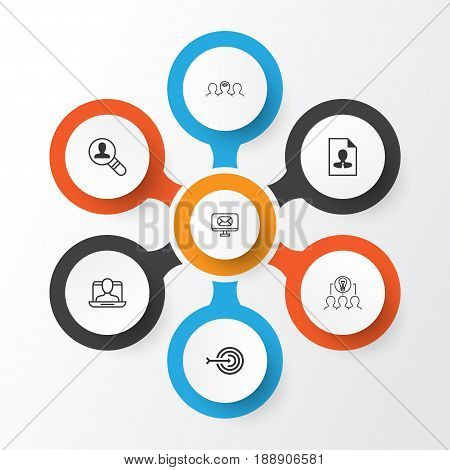 Corporate Icons Set. Collection Of Arrow, Cv, Collaborative Solution And Other Elements. Also Includes Symbols Such As Employee, Mentoring, Collaboration.