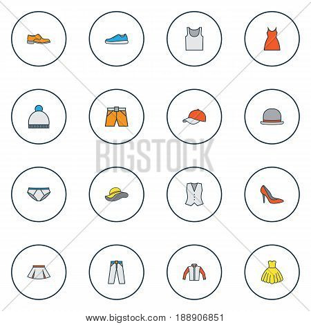 Dress Colorful Outline Icons Set. Collection Of Heels, Underwear, Evening Gown And Other Elements. Also Includes Symbols Such As Dress, Hat, Windbreaker.