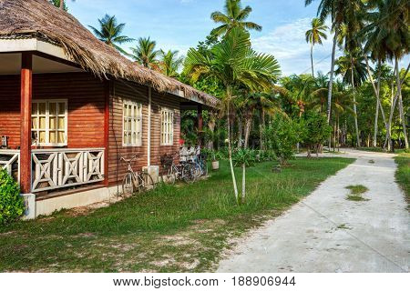 Traditional  old house in  island of  La Digue,  Seychelles