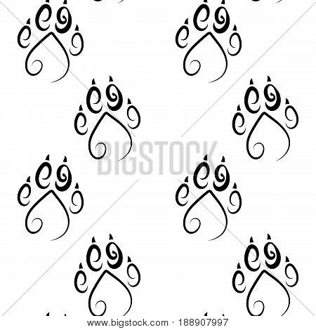 Vector flat background. Paw print.Paw print seamless pattern isolated on white background. Animal Tracks
