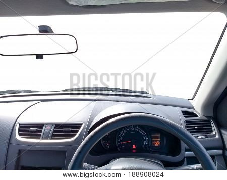 interior of right hand drive car front view mirror with copy space