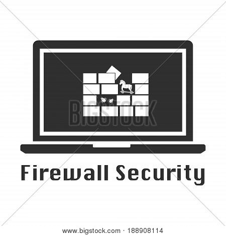 Firewall security icon black icon. Vector illustration cyber crime security concept.