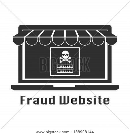 Fraud website black icon. Vector illustration cyber crime securit concept.