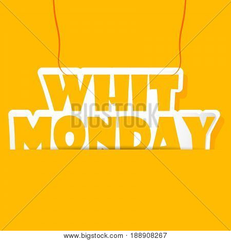 illustration of whit Monday text on yellow background