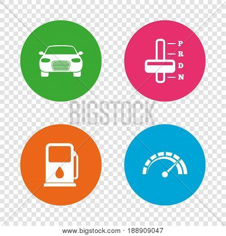 Transport icons. Car tachometer and automatic transmission symbols. Petrol or Gas station sign. Round buttons on transparent background. Vector