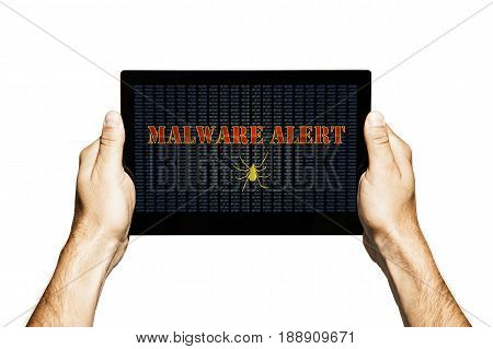 Malware alert in a tablet screen. Hands holding tablet. Isolated