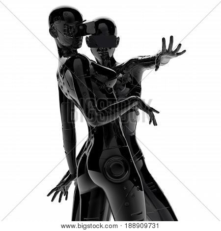 3D illustration. Two the stylish chromeplated cyborg the woman.Futuristic fashion android.
