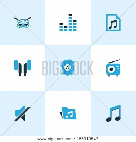 Multimedia Colorful Icons Set. Collection Of Folder, Radio, Music Lover And Other Elements. Also Includes Symbols Such As Radio, Earmuff, Note.