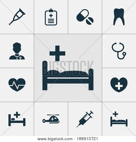 Medicine Icons Set. Collection Of Heal, Injection, Dental And Other Elements. Also Includes Symbols Such As Heart, Dental, Polyclinic.