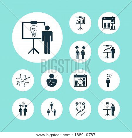 Executive Icons Set. Collection Of Special Demonstration, Co-Working, Team Meeting And Other Elements. Also Includes Symbols Such As Report, Work, Timeout.