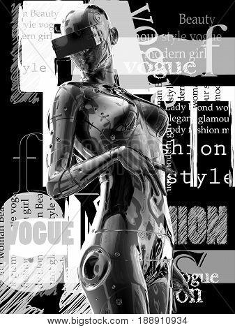 3D illustration.Stylish chrome plated cyborg woman. Futuristic fashion android.