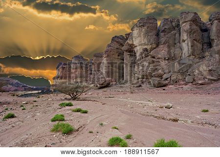 Pillars of Solomon's king  in Timna Park that is located 25 km north of Eilat (Israel), the park combines beautiful scenery with unique geology, variety of sport and family activities