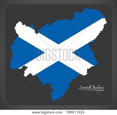 Scottish Borders Map With Scottish National Flag Illustration