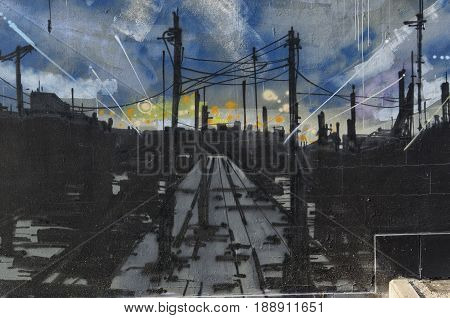 View of a mural with a dark industrial landscape
