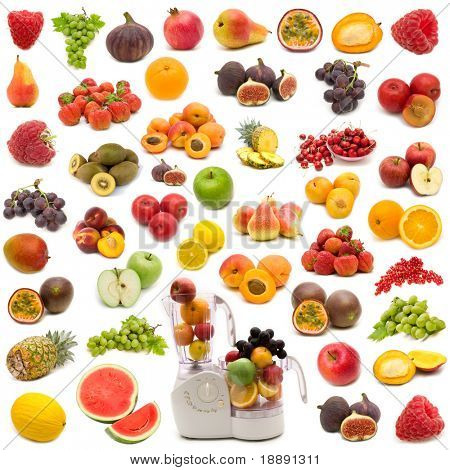 collection of fresh juicy fruits on white background