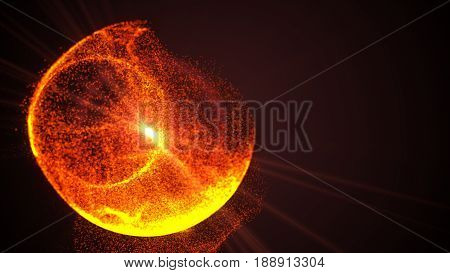 Abstract Colorful Orange And Golden Exploding Sphere Made Of Points And Dots. Shiny Dots With Glowin