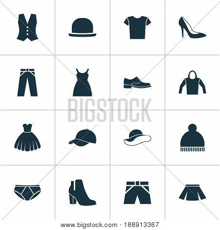 Clothes Icons Set. Collection Of Heel Footwear, Beanie, Trilby And Other Elements. Also Includes Symbols Such As Sarafan, Hoodie, Fedora.