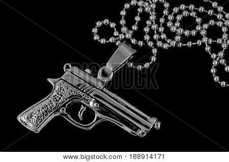 Silver Necklace Revolver Neck