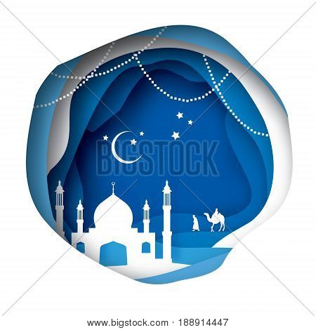 Ramadan Kareem Greeting card with arabic White Origami Mosque. Blue Paper cut Desert Cave Landscape. Holy month of muslim. Symbol of Islam. Crescent Moon. Garland. Islamic celebration. Garland.vector.