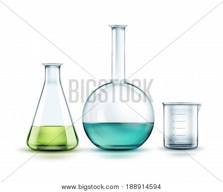 Vector transparent glass chemical flasks full off green blue liquid and empty beaker isolated on background