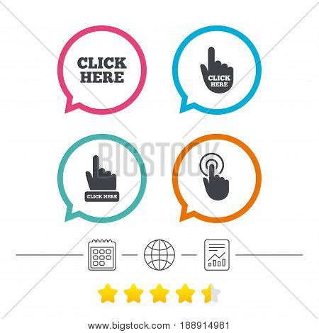 Click here icons. Hand cursor signs. Press here symbols. Calendar, internet globe and report linear icons. Star vote ranking. Vector