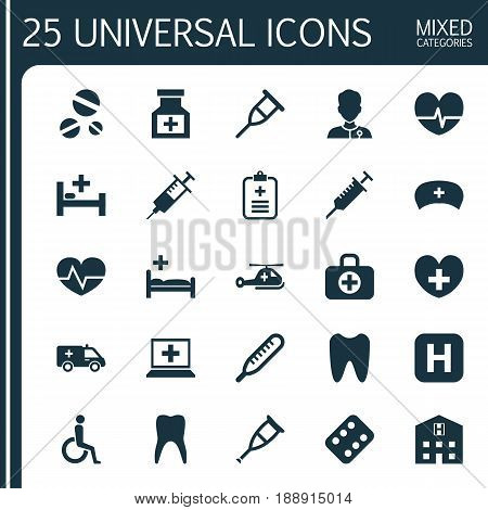 Medicine Icons Set. Collection Of Handicapped, Injection, Rhythm Elements. Also Includes Symbols Such As Claw, Illness, Healer.