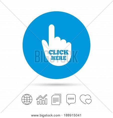Click here hand sign icon. Press button. Copy files, chat speech bubble and chart web icons. Vector