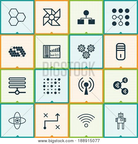 Robotics Icons Set. Collection Of Variable Architecture, Controlling Board, Information Components And Other Elements. Also Includes Symbols Such As Mainframe, Robot, Data.