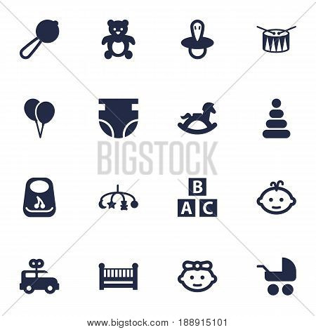 Set Of 16 Kid Icons Set.Collection Of Girl, Pram, Teat And Other Elements.