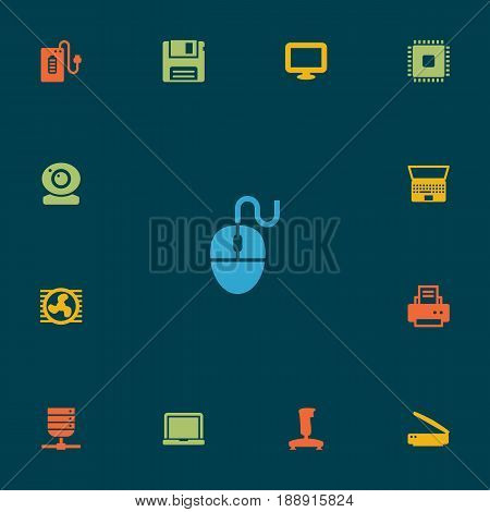 Set Of 13 Notebook Icons Set.Collection Of Peripheral, Datacenter, Control Device And Other Elements.