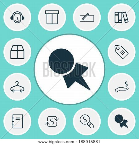 Ecommerce Icons Set. Collection Of Spiral Notebook, Recurring Payements, Bookshelf And Other Elements. Also Includes Symbols Such As Notepad, Research, School.