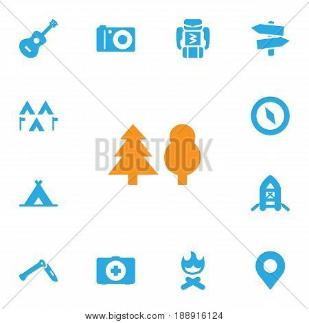 Set Of 13 Outdoor Icons Set.Collection Of Jackknife, Tree, Backpack And Other Elements.