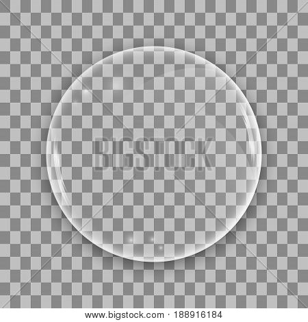 Glass lens on transparent background. Sphere bubble with glares. Vector illustration.