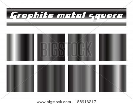 Black graphite gradient square set. Metallic texture background. Vector illustration.