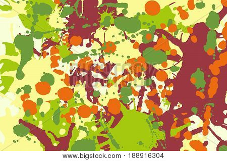 Maroon orange yellow green ink paint splashes vector colorful background