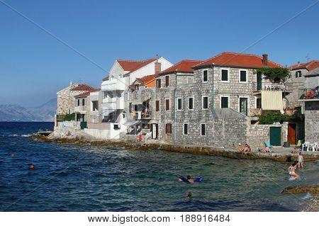 Old stone houses in village Postira on Brac island in Croatia
