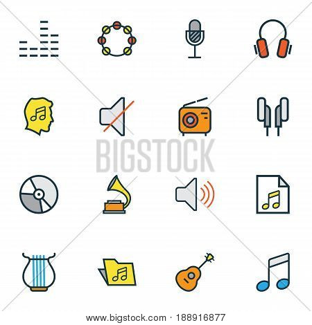 Audio Colorful Outline Icons Set. Collection Of List, Gramophone, Lover And Other Elements. Also Includes Symbols Such As Earphones, Circle, Notes.