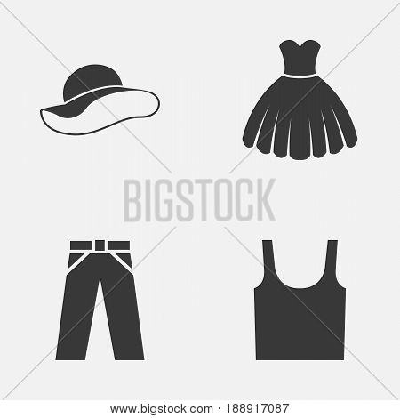 Garment Icons Set. Collection Of Sarafan, Singlet, Elegant Headgear And Other Elements. Also Includes Symbols Such As Sarafan, Pants, Hat.