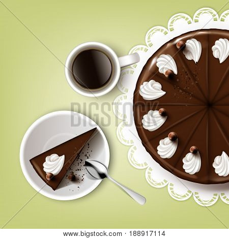 Vector cutting chocolate cake with icing, whipped cream, cup of coffee, spoon, plate, white lace napkin top view isolated on pistachio background