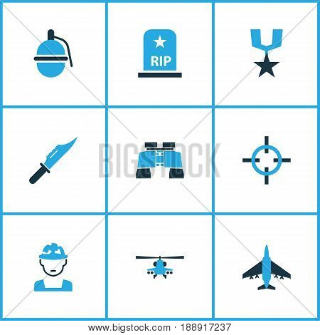 Battle Colorful Icons Set. Collection Of Knife, Medal, Soldier And Other Elements. Also Includes Symbols Such As Binoculars, Aim, Army.