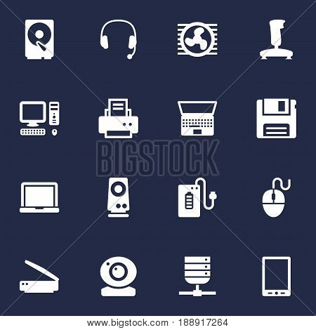 Set Of 16 Computer Icons Set.Collection Of Palmtop, Supply, Control Device And Other Elements.
