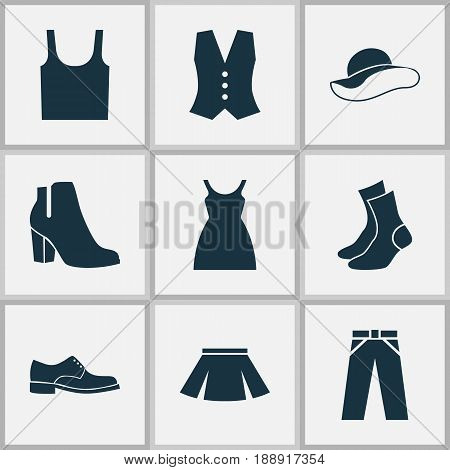 Garment Icons Set. Collection Of Elegant Headgear, Singlet, Stylish Apparel And Other Elements. Also Includes Symbols Such As Sundress, Headgear, Skirt.